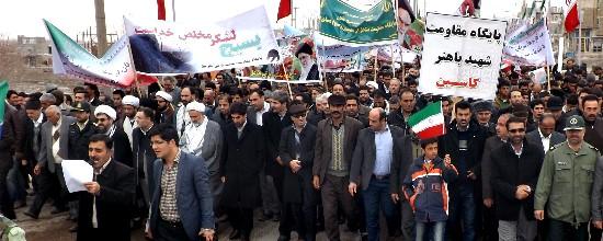 راهپیمایی 22 بهمن در شهر ورزقان