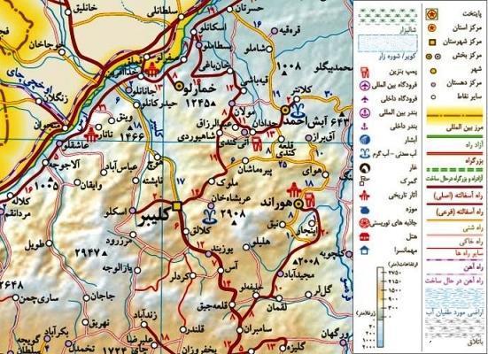 نقشه روستاهای شهرستان کلیبر