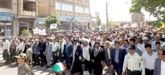 راهپيمايي عظيم مردم روزه دار ورزقان در دفاع از مردم مظلوم فلسطين